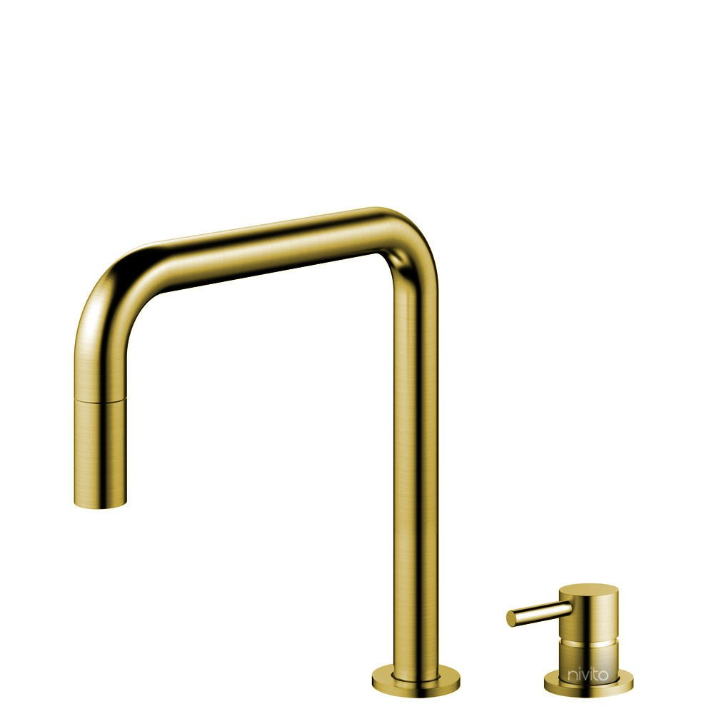 Mässing/Guld Kökskran Utdragbart munstycke / Sepererad Kropp/Pip - Nivito RH-340-VI