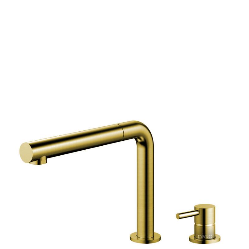 Mässing/Guld Köksblandare Utdragbart munstycke / Sepererad Kropp/Pip - Nivito RH-640-VI